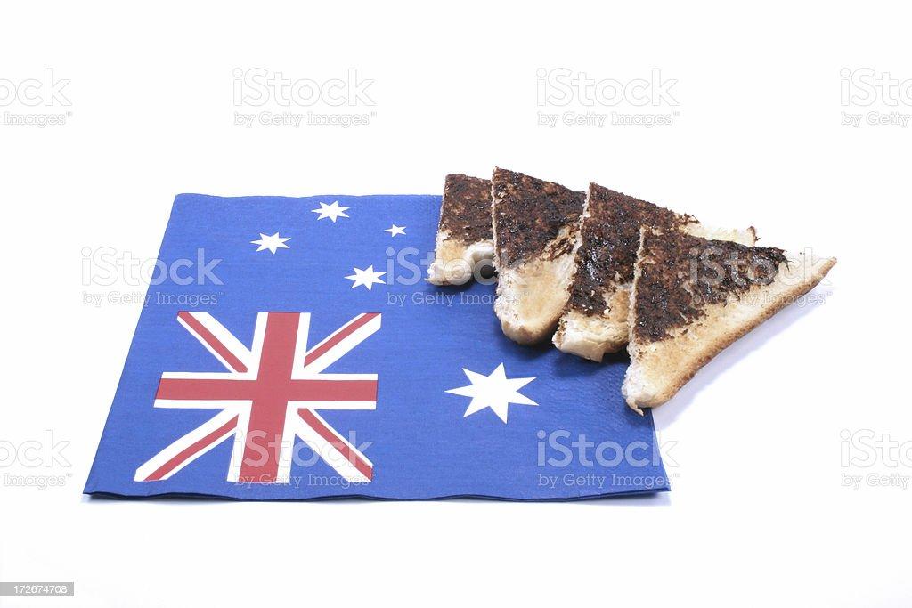 Australia Day toast with  vegimite and flag stock photo