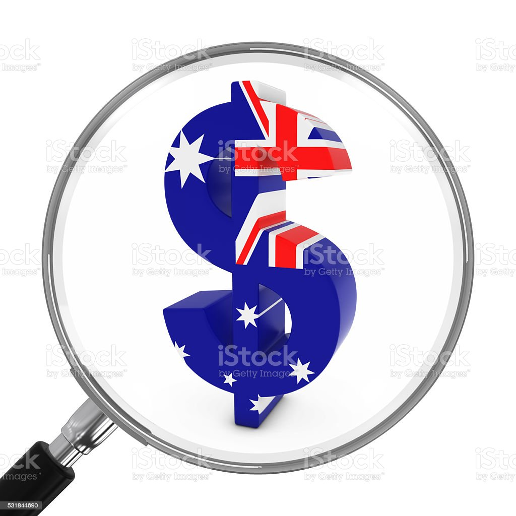 Australia Finance Concept - Australian Dollar Symbol Under Magnifying Glass stock photo