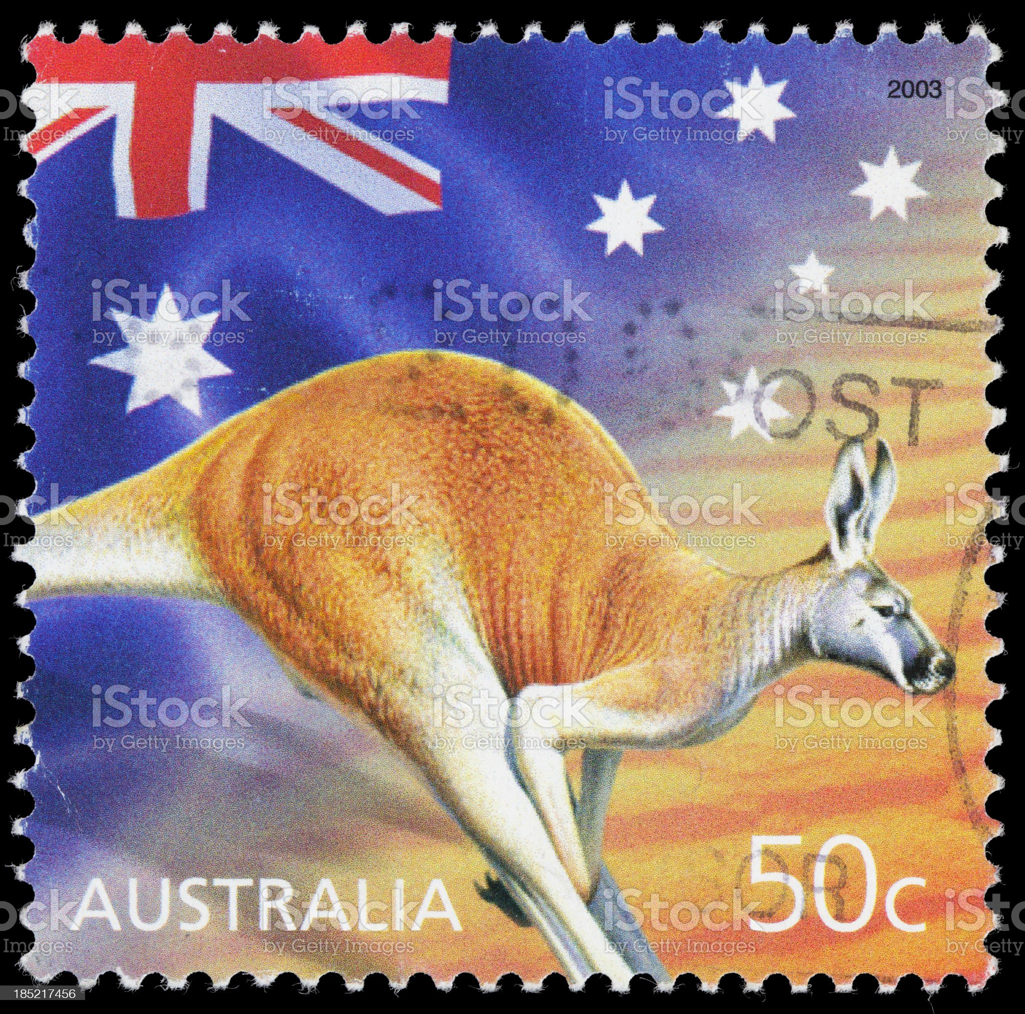Australia flag and kangaroo postage stamp royalty-free stock photo