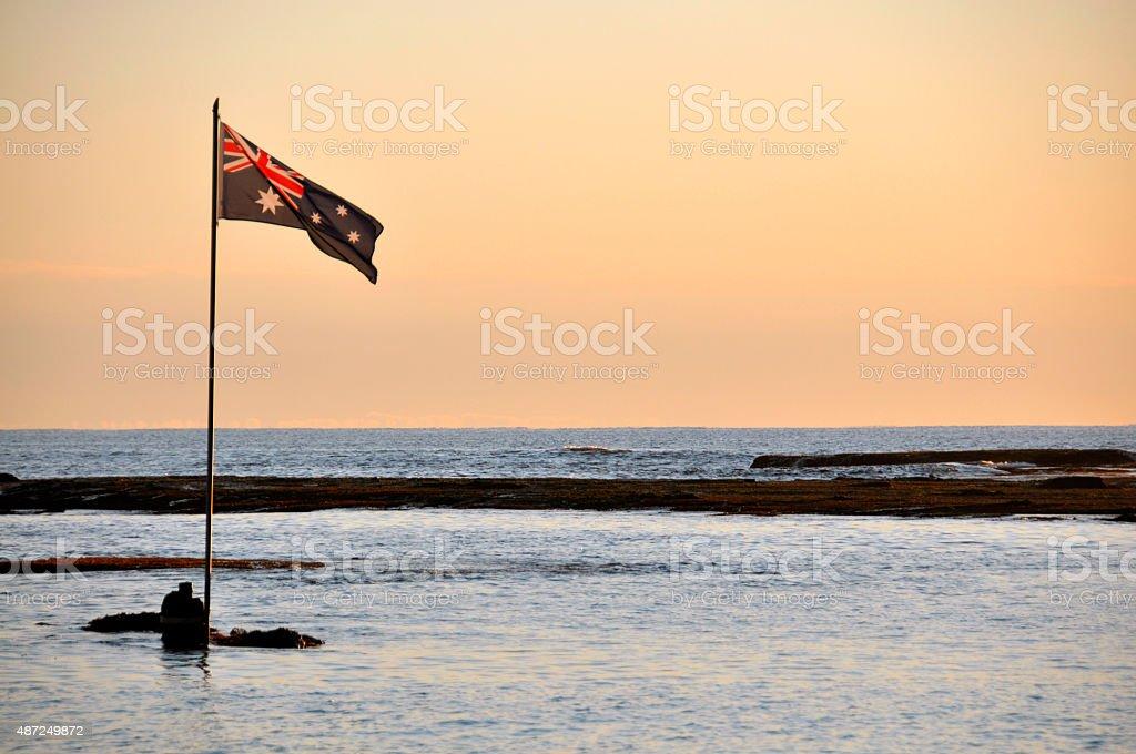 Australia Flag beach side stock photo