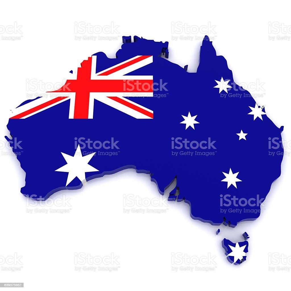 Australia flag map stock photo