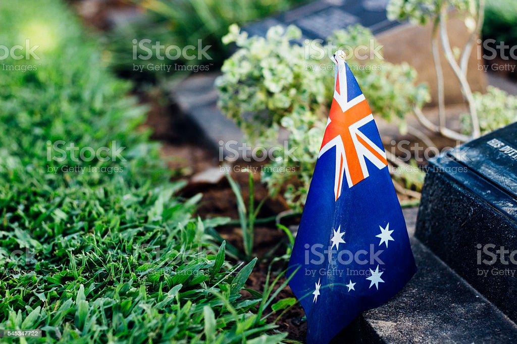 australia flag on tombstone stock photo