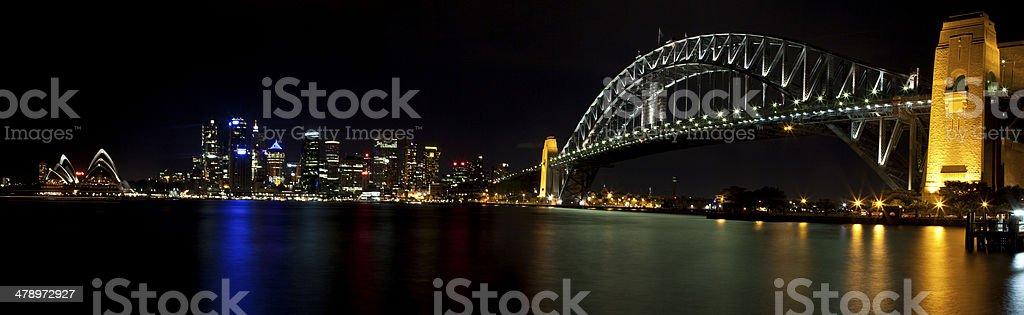 Australia Harbor Bridge at night stock photo