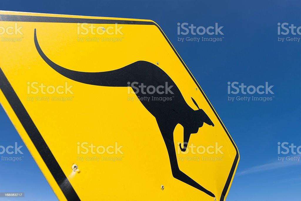 Australia: Kangaroo Crossing Sign Closeup stock photo