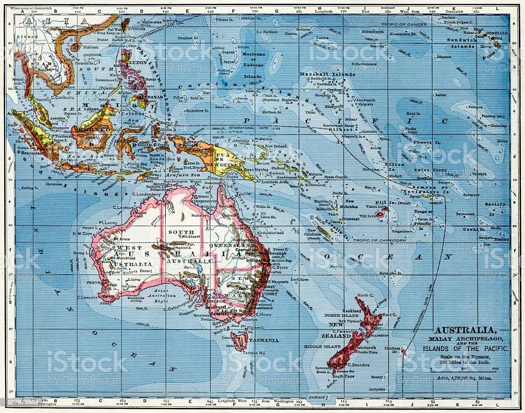 Australia Map 1883 stock photo