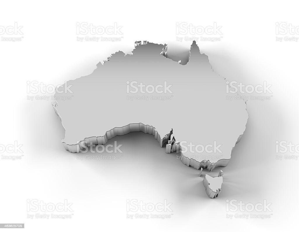 Australia map 3D silver with clipping path stock photo