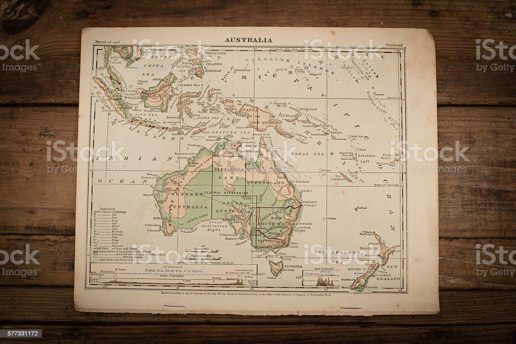Australia Map Illustration, Antique 1871 Book Page stock photo