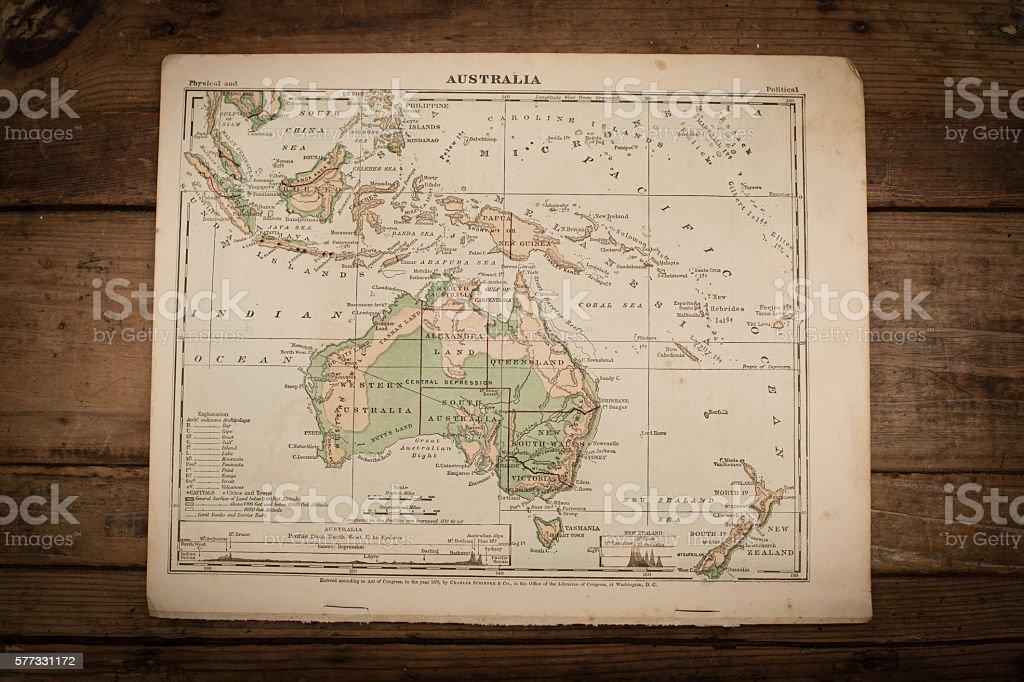 Australia Map Illustration, Antique 1871 Book Page stock photo