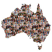 Australia map multicultural group of young people integration