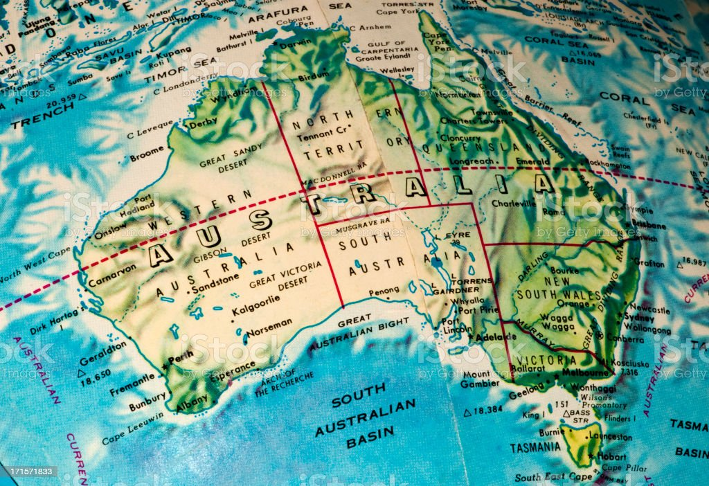 Australia Map on a Globe Showing Earth Curvature stock photo