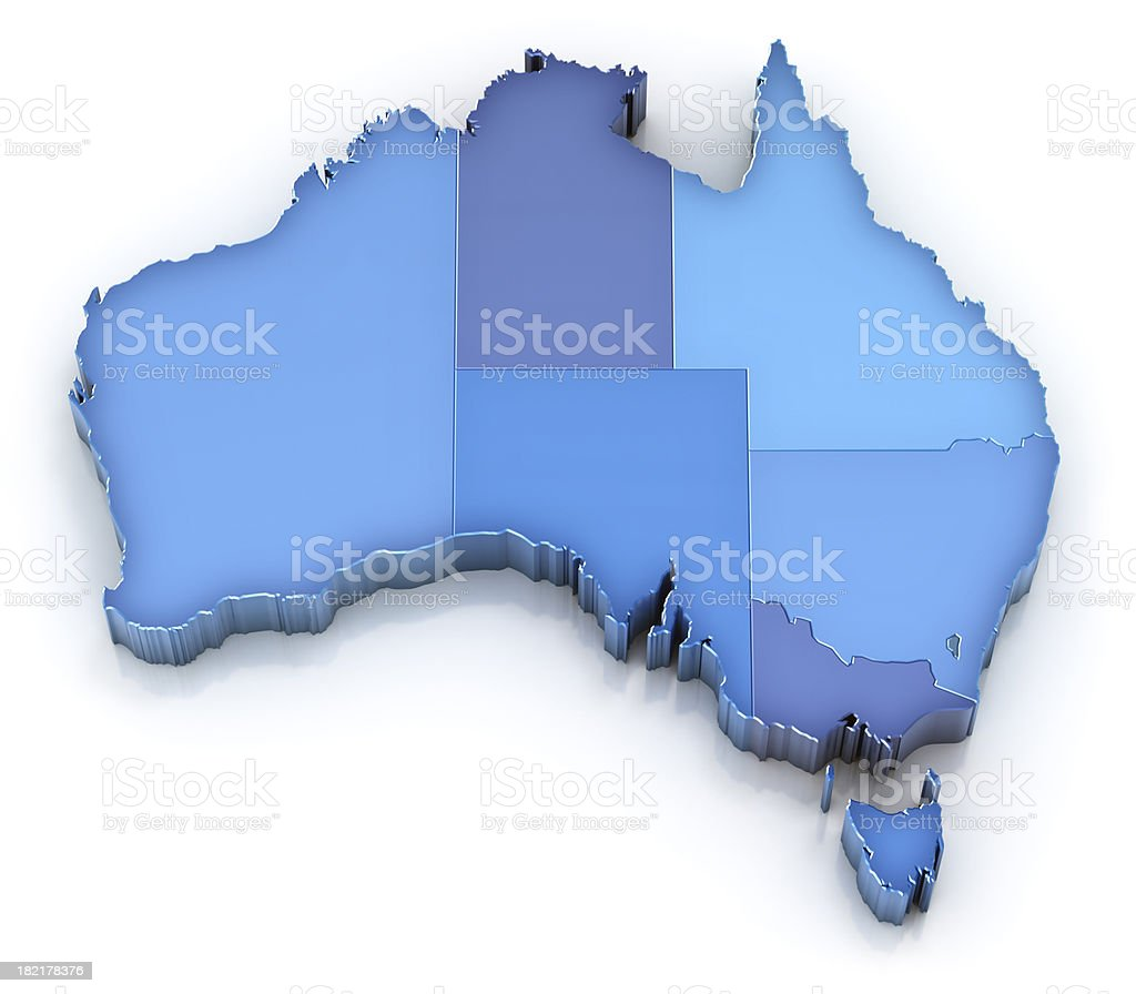 Australia map with states stock photo