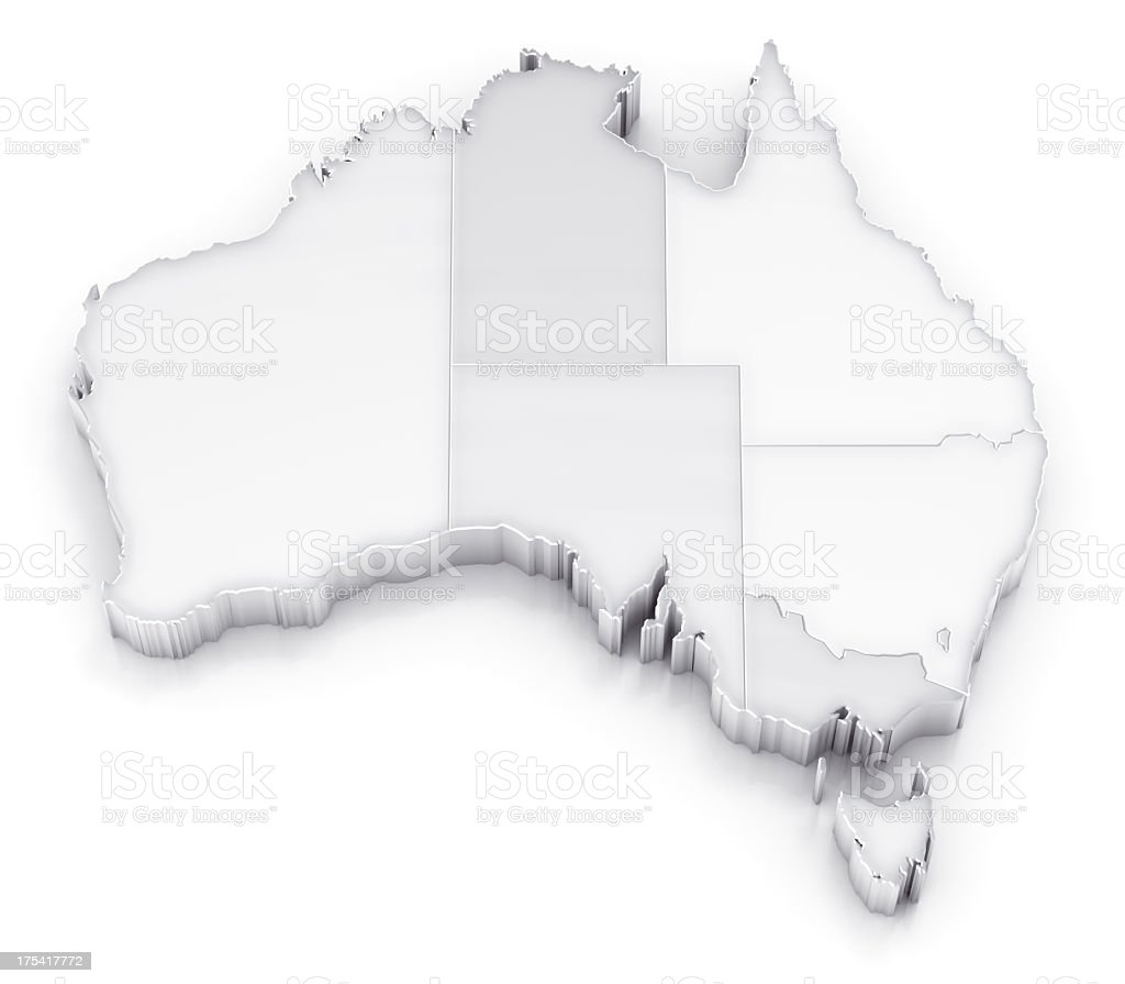Australia map with states white version royalty-free stock photo