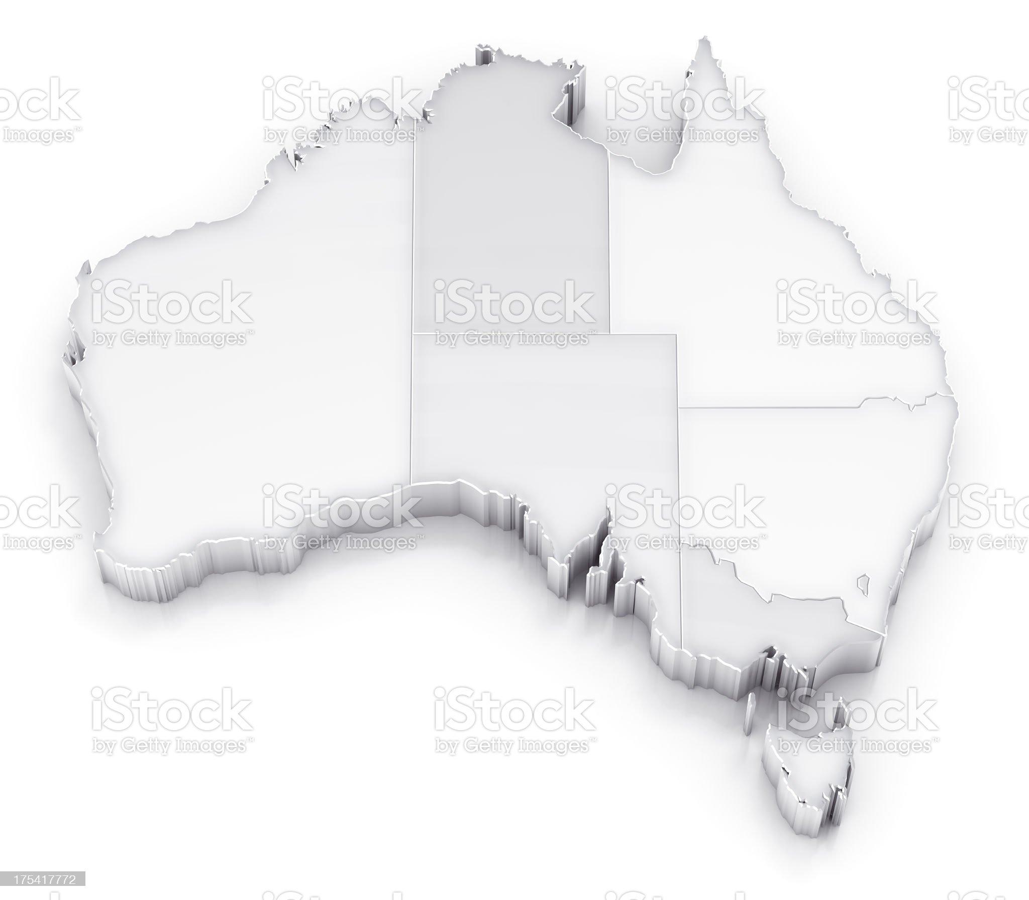 Australia map with states white version royalty-free stock photo