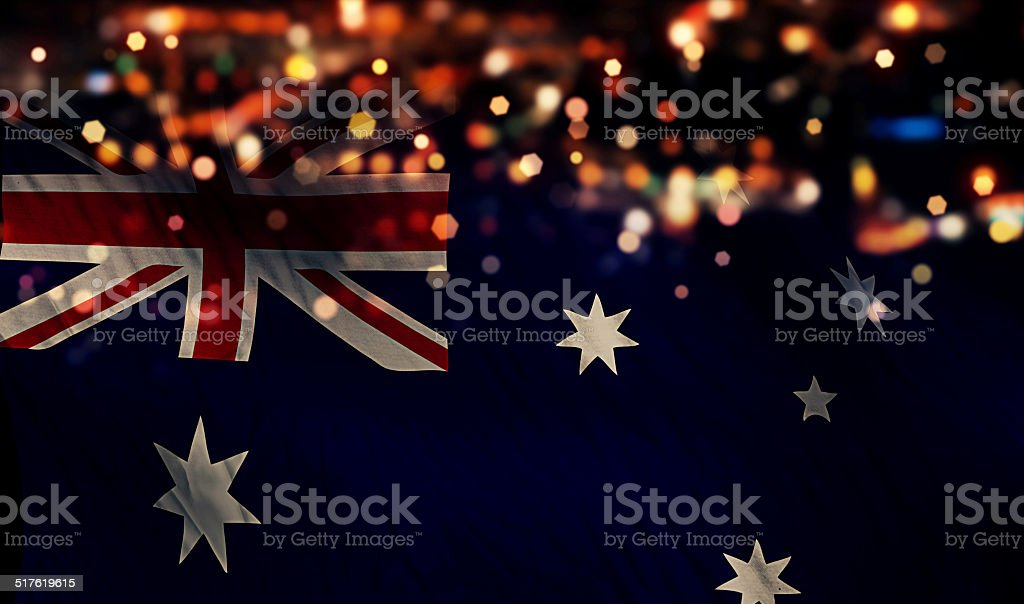 Australia National Flag Light Night Bokeh Abstract Background stock photo