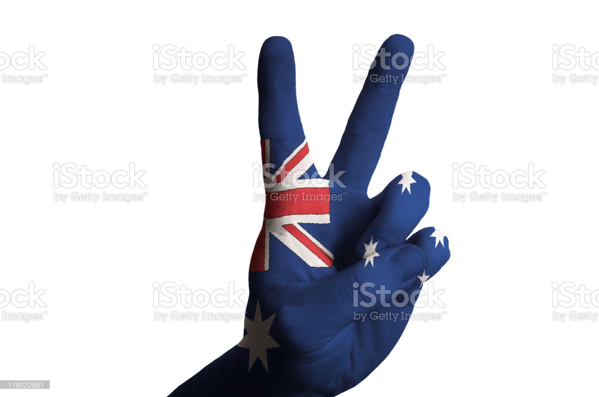 australia national flag two finger up gesture for victory royalty-free stock photo