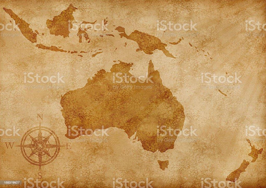 Australia old map illustration stock photo