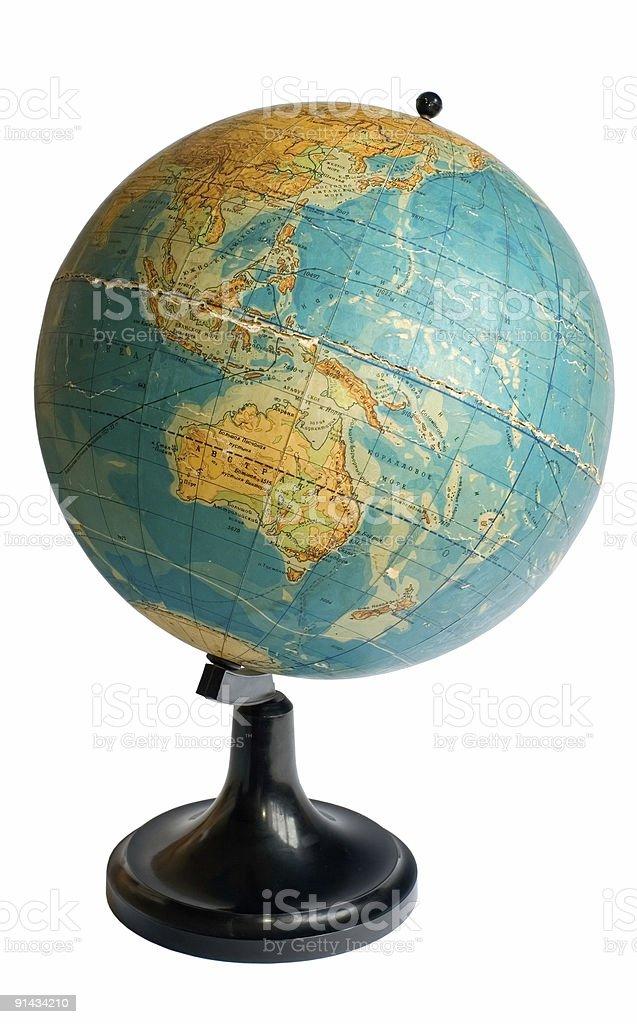 Australia on an old globe royalty-free stock photo