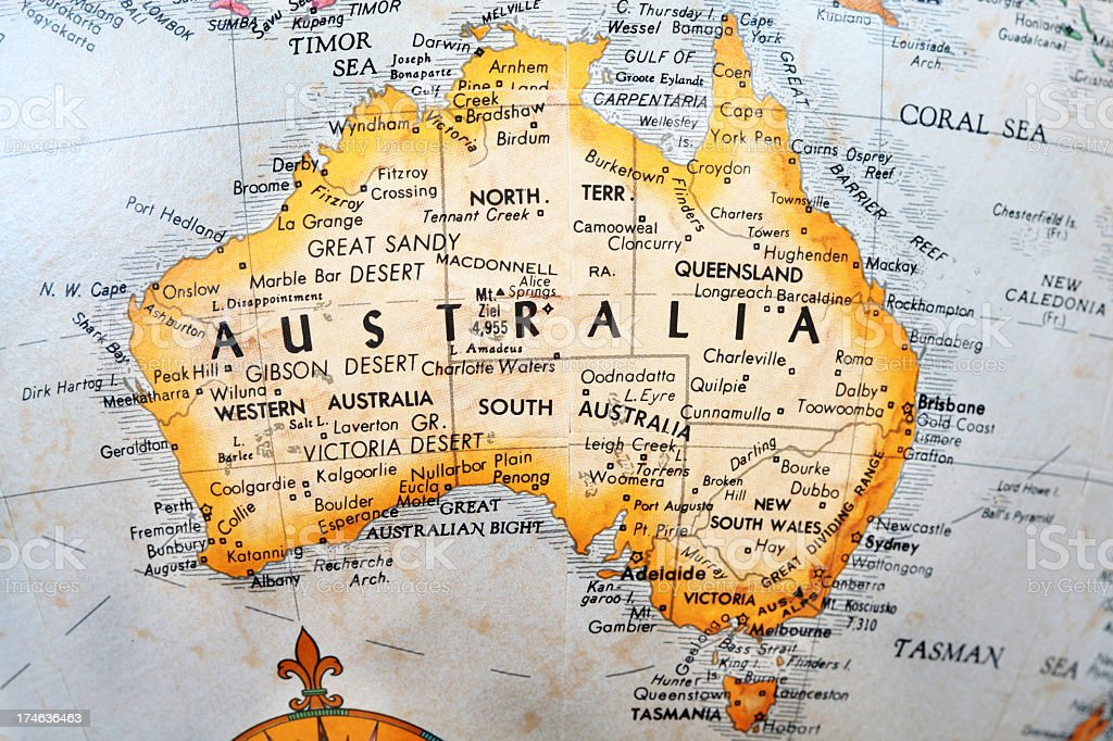 Australia on old Globe Map royalty-free stock photo