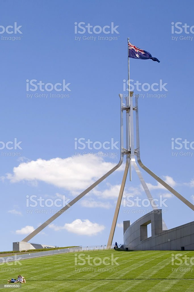 Australia Parliament House Canberra Young Couple Rolling Down Hi royalty-free stock photo