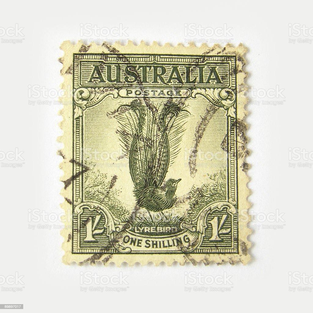 Australia postage stamp with lyrebird stock photo