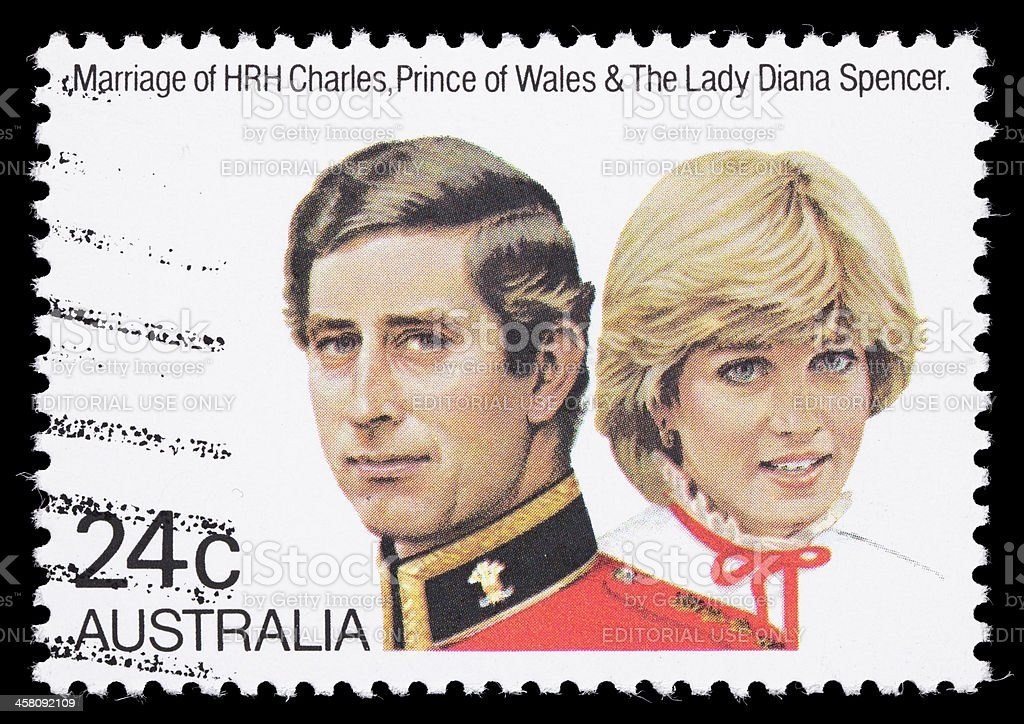 Australia Prince Charles and Diana royal wedding postage stamp stock photo