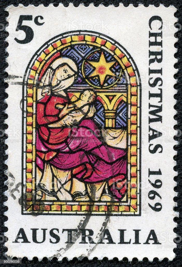 Australia stamp shows Nativity royalty-free stock photo