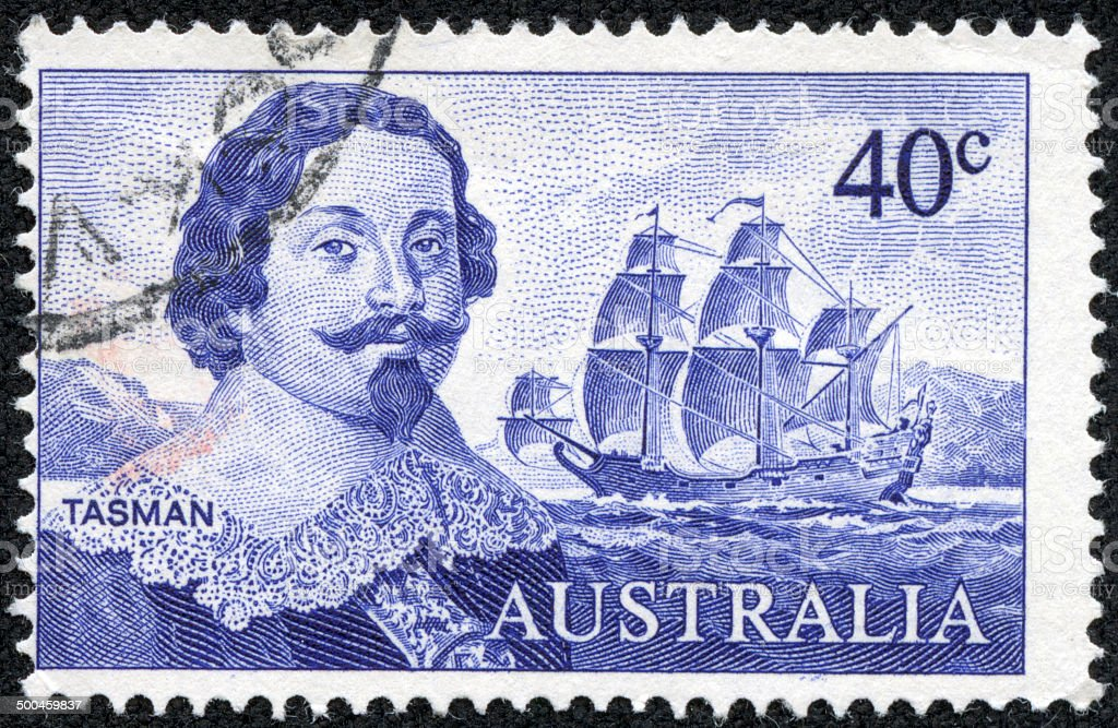 Australia Stamp,Dutch merchant Abel Janszoon Tasman stock photo