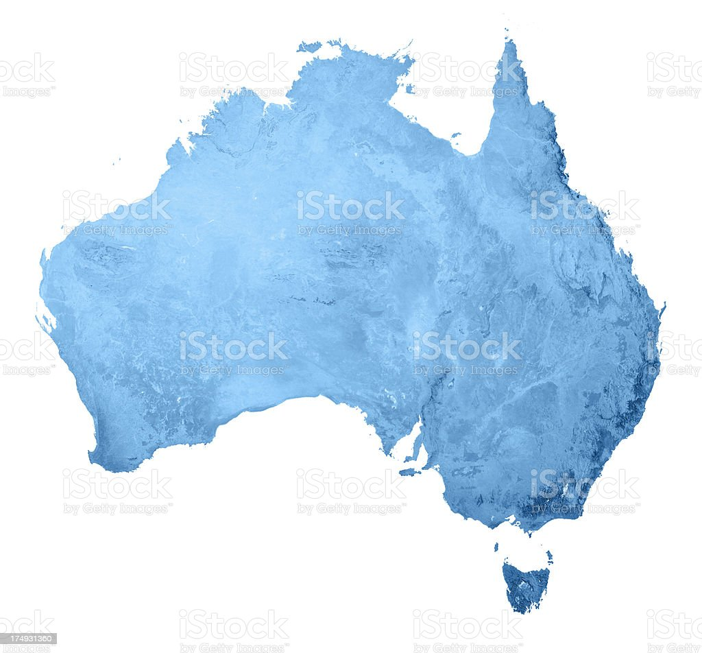 Australia Topographic Map Isolated stock photo