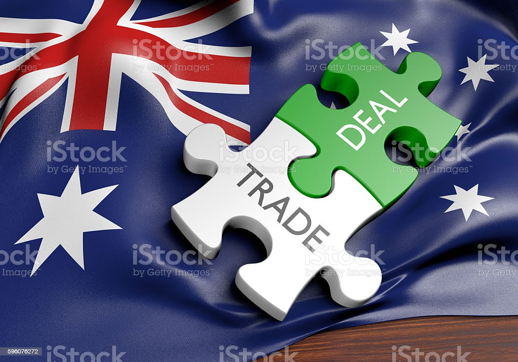 Australia trade deals and international commerce concept, 3D rendering stock photo
