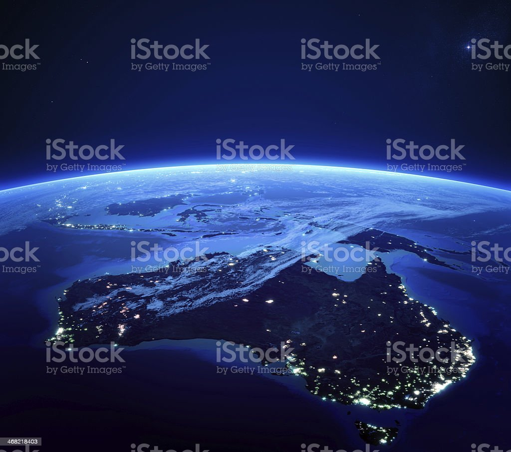 Australia with city lights from space at night stock photo