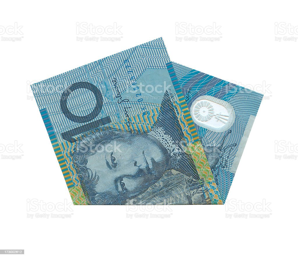 Australian 10$ Notes Isolated (clipping path) stock photo
