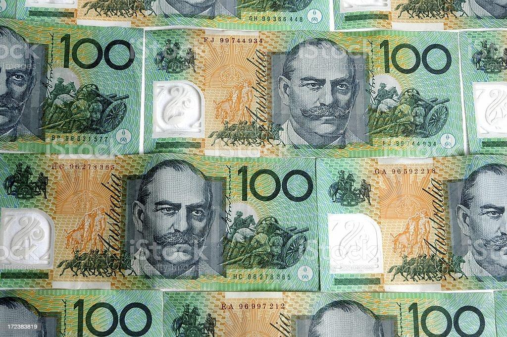 Australian 100 dollar notes cash royalty-free stock photo
