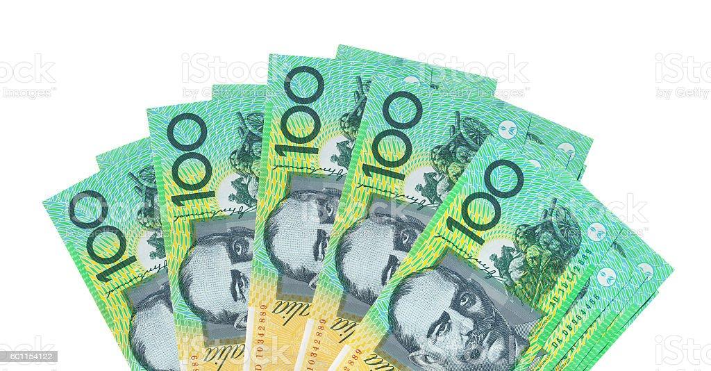 Australian 100$ Notes background Isolated on white stock photo