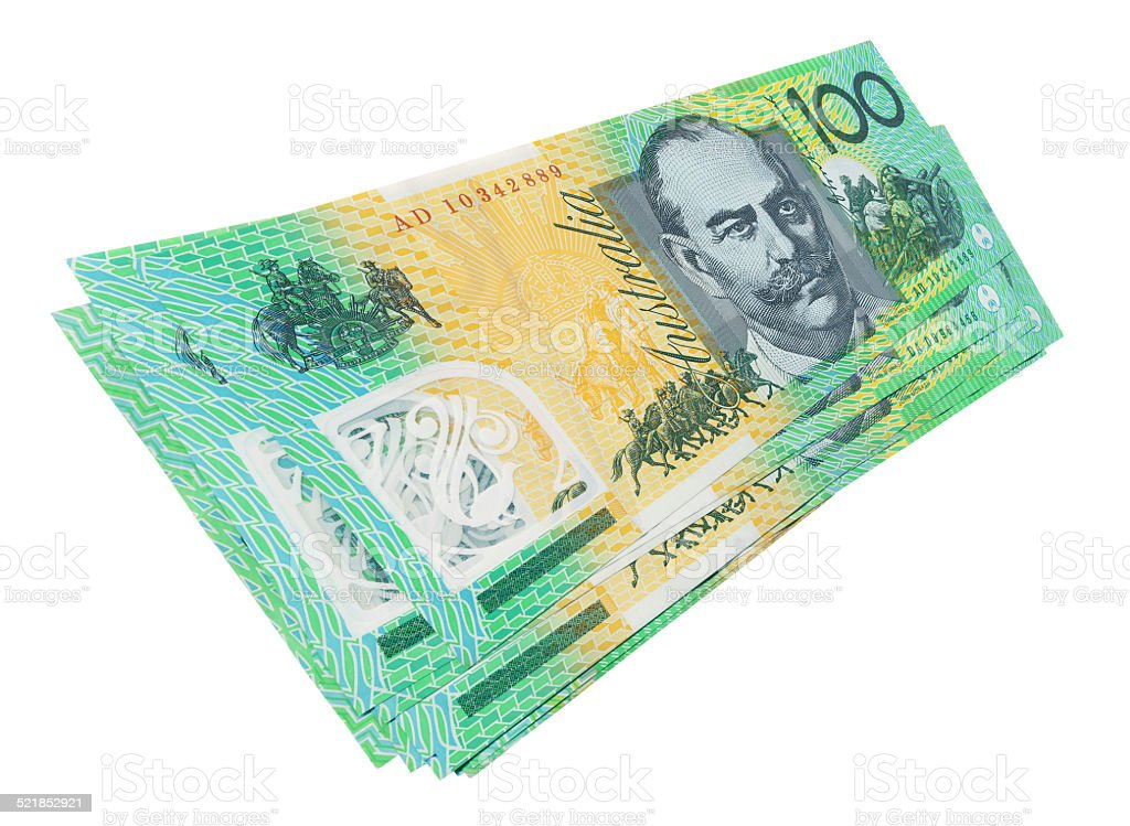 Australian 100$ Notes isolated on white stock photo