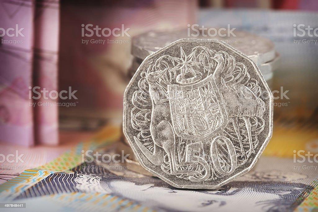 Australian 50 cent coin stock photo