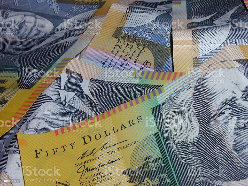 Australian 50 dollar close-up stock photo