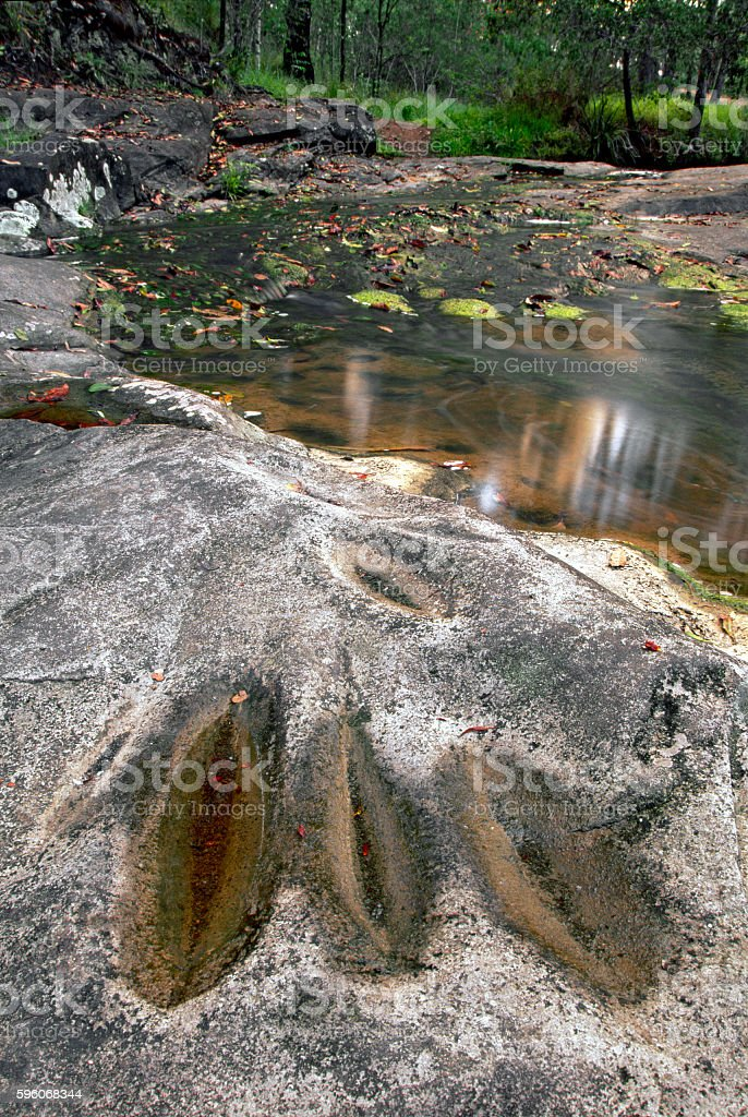 Australian aboriginal grinding grooves in rocks from tool making stock photo