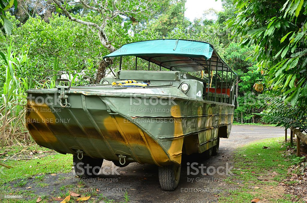 Australian amphibious vehicle DUKW drive in Queensland Australia stock photo