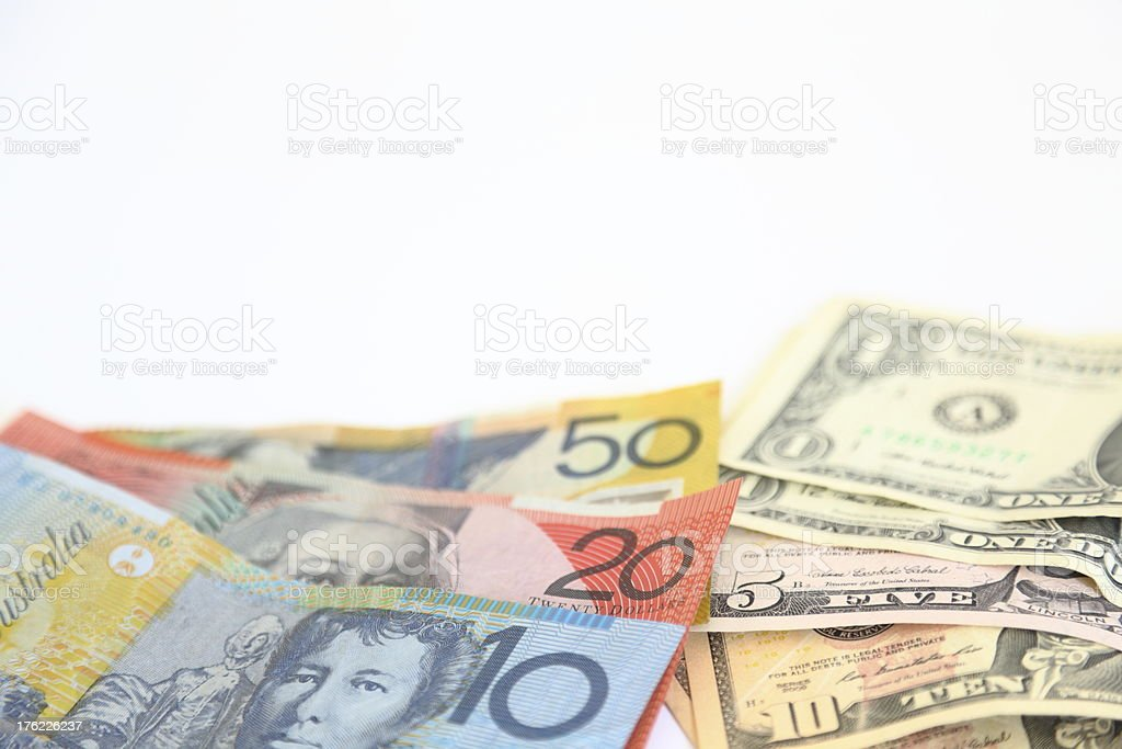 Australian and American Currency together royalty-free stock photo