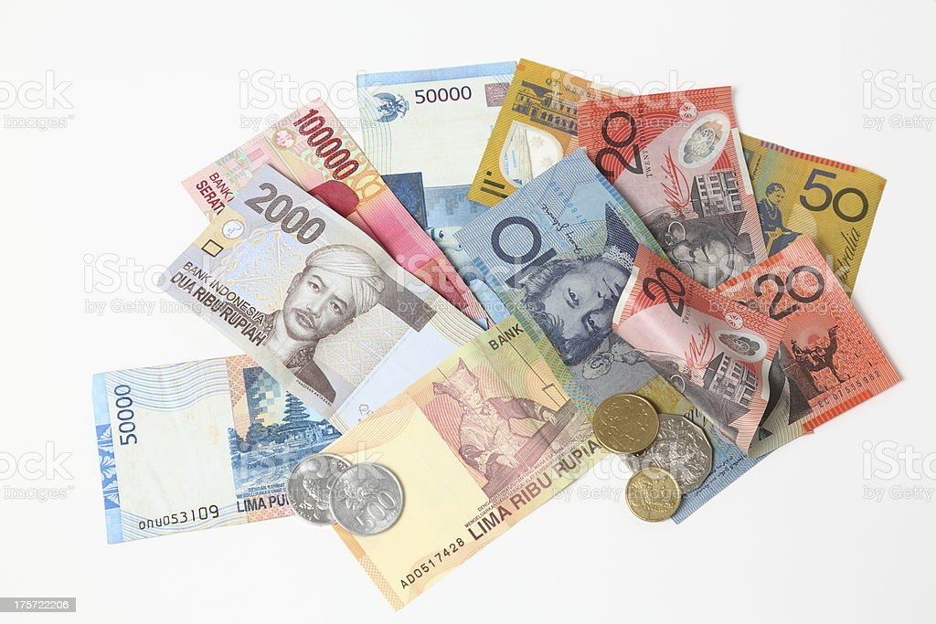 Australian and indonesian Currency together stock photo