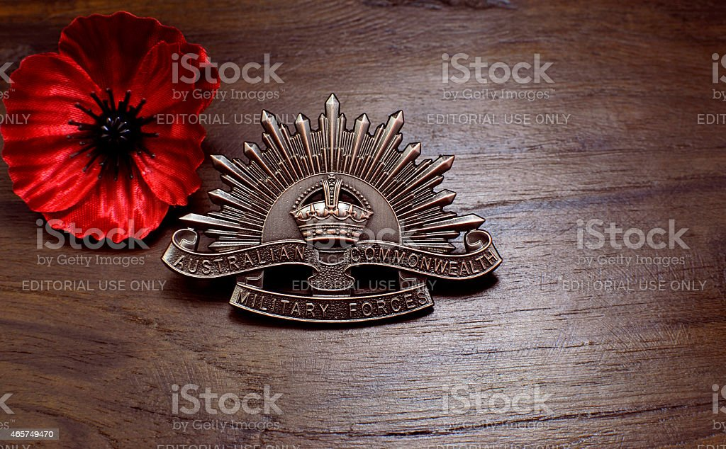 Australian Anzac WWI rising star hat badge stock photo