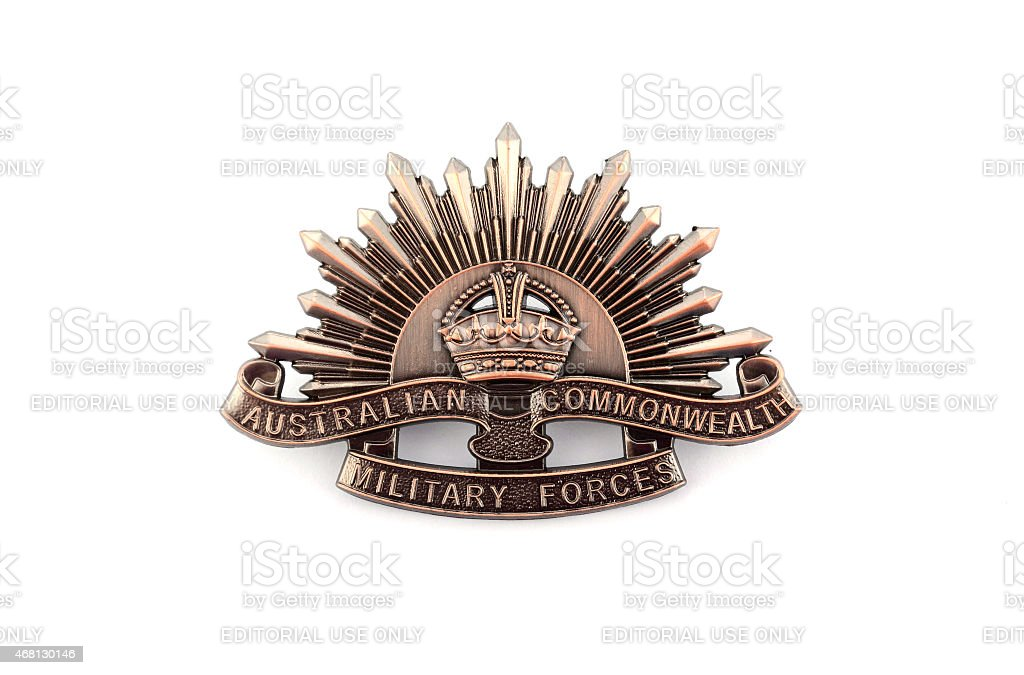 Australian Anzac WWI rising star hat badge stock photo