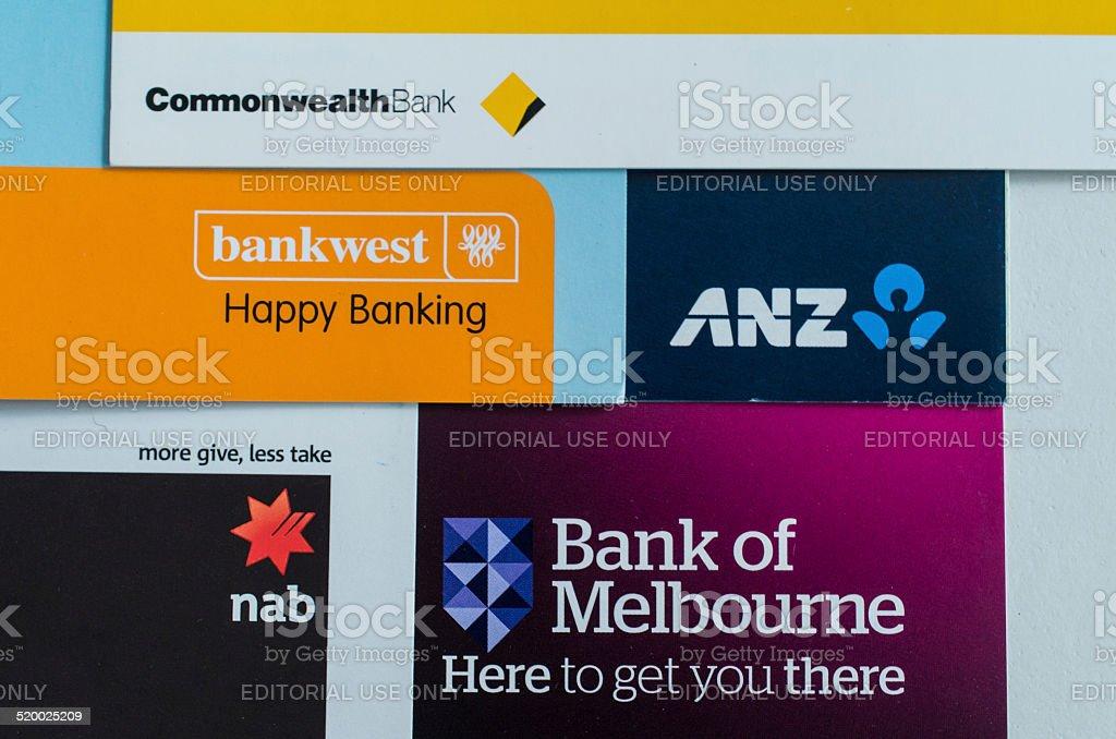 Australian bank trademarks and logos stock photo