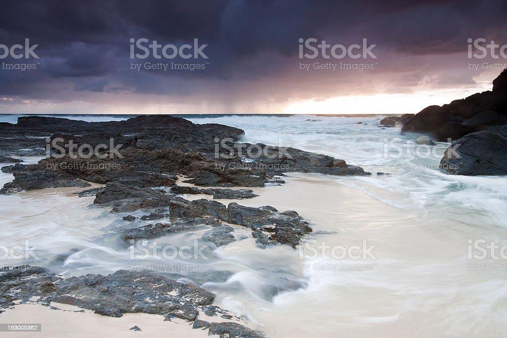 australian beach at sunrise royalty-free stock photo