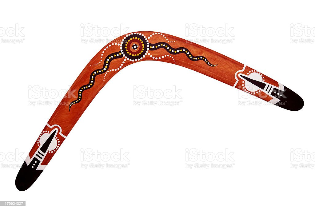 Australian BOOMERANG with sun isolated stock photo