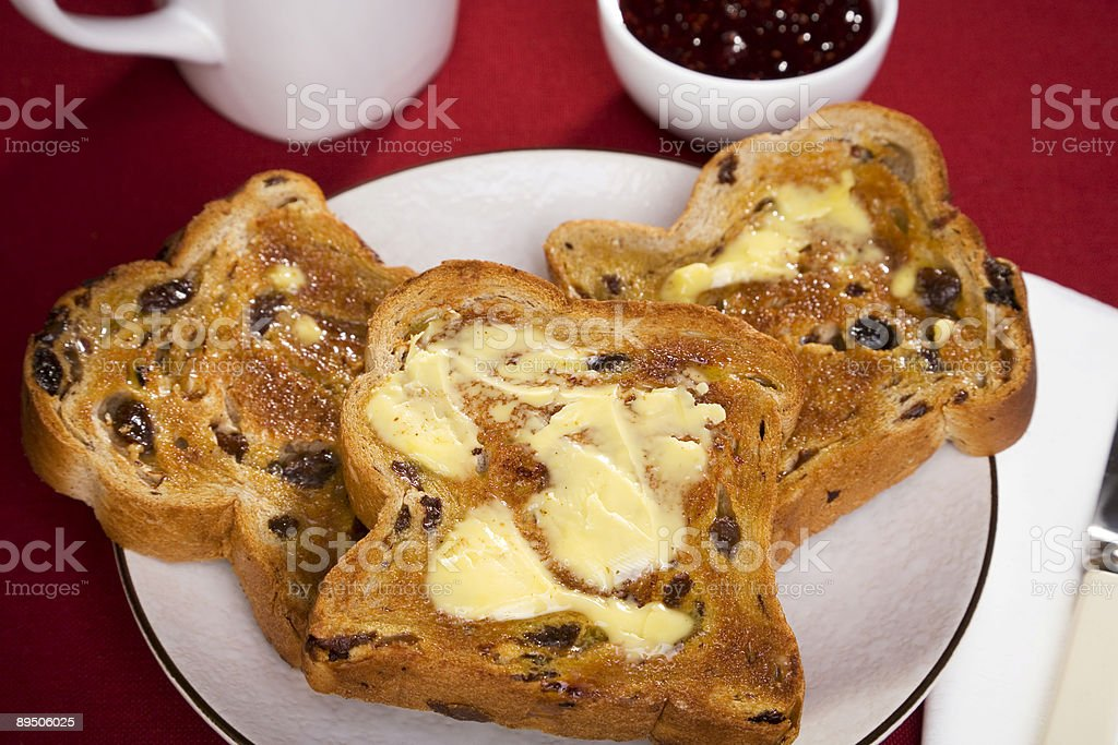 Australian Breakfast Raisin Toast and Butter royalty-free stock photo