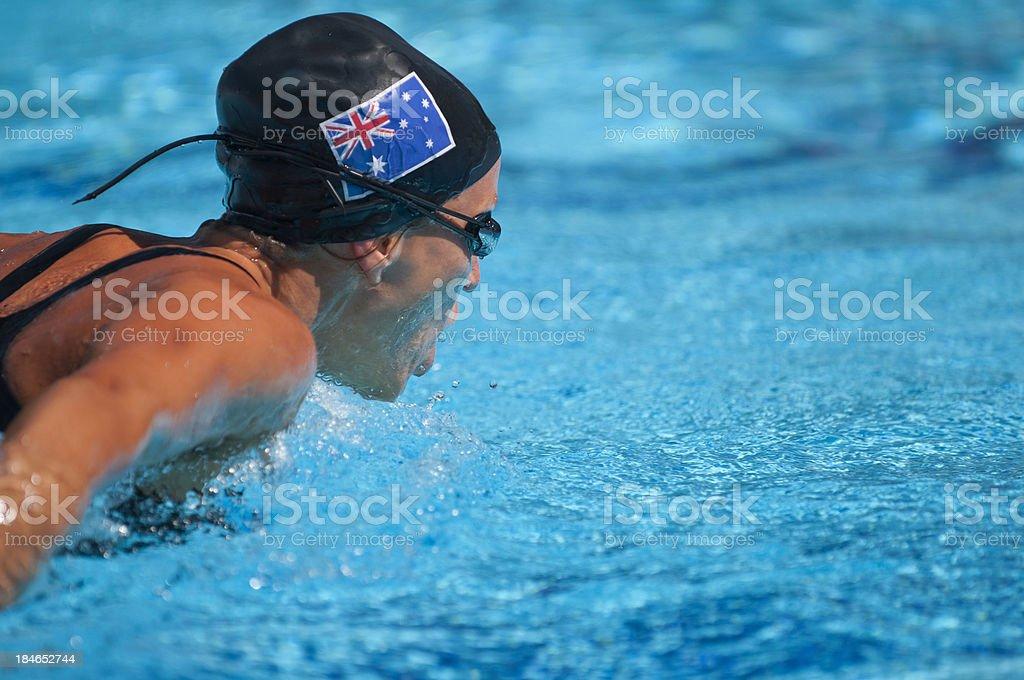 Australian butterfly stroke swimmer royalty-free stock photo