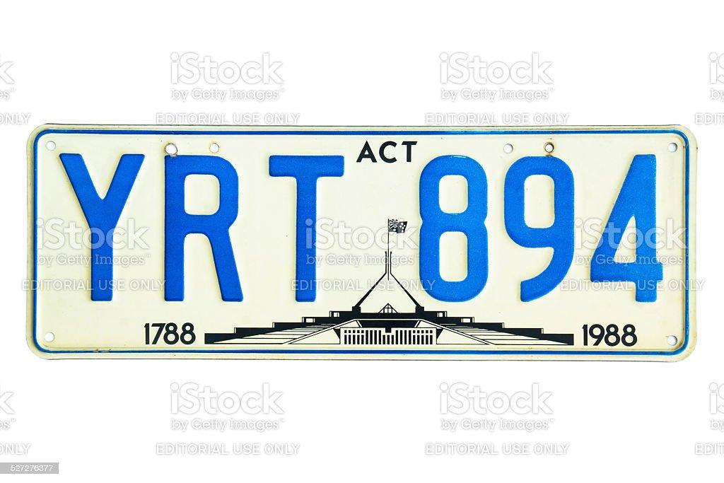 Australian Capital Territory (ACT) Number Plate stock photo