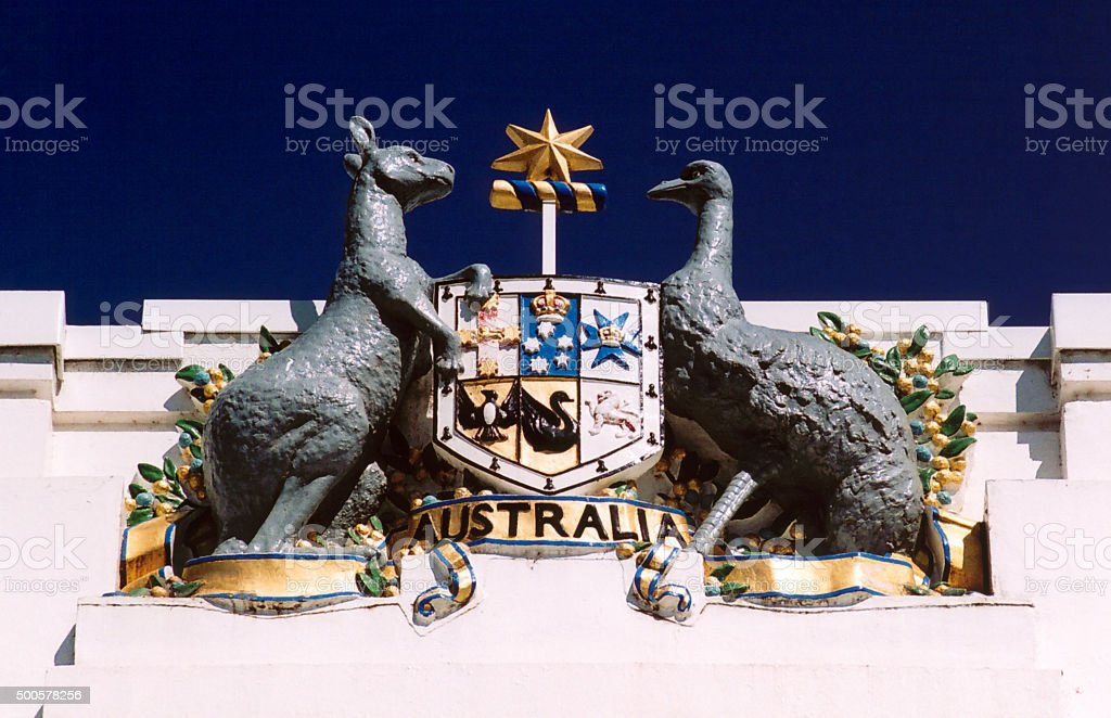 Australian coat of arms, Canberra stock photo