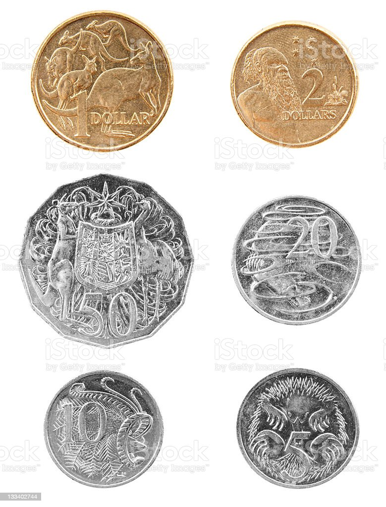 Australian Coins Currency Isolated stock photo